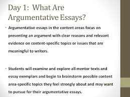 argumentative essay immersion day  what are argumentative  day  what are argumentative essays argumentative essays in the content areas focus on
