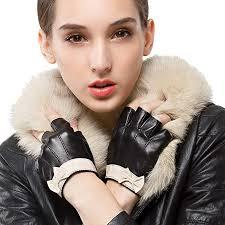 Nappaglo Women's Fingerless <b>Leather</b> Gloves Nappa <b>Leather Half</b> ...