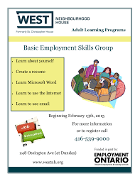 basic employment skills group west neighbourhood house basic employment skills group