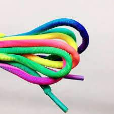 <b>1 Pair Round Rainbow</b> Shoelaces Canvas Athletic Shoelace Sport ...