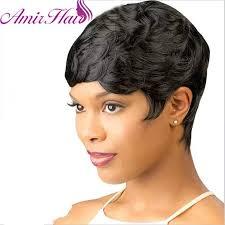 <b>Amir Short Wigs for</b> Black Women Black Short Synthetic Wig ...