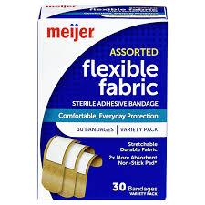 Meijer <b>Flexible</b> Fabric <b>Adhesive Bandages</b>, 30 pk Adhesive ...