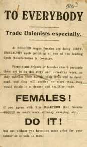 19th and early 20th century striking women leaflet condemning women s employment as polishers in the bycycle industry calling for equal wages for women around coventry 1908