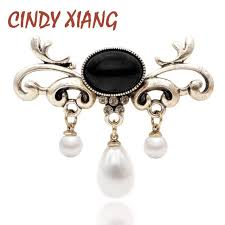 Online Shop <b>CINDY XIANG</b> Fashion Pearl Pendant Brooches For ...