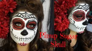 pinup red and black glitter sugar skull makeup tutorial and victory roll beautybyjosiek