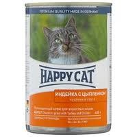 Корм для кошек <b>Happy Cat</b> с курицей, с индейкой 400 г (кусочки в ...