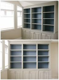 grey and blue combination diy built in office cabinet classy glam living built in office