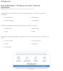 quiz worksheet the story of an hour theme symbolism com print the story of an hour theme symbolism worksheet