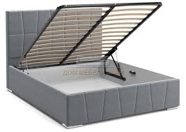 <b>Кровать Пассаж</b> 1600 с подъемным механизмом, серый велюр ...