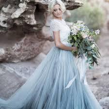Off The Shoulder Wedding <b>Dress Sky Blue Lace</b> Top Bride <b>Dress</b> ...