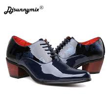 New <b>mens pointed toe lace</b> up high heels fashion oxford shoes ...