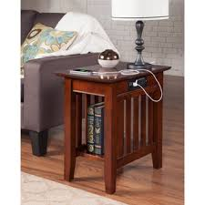 mission charger walnut wood side table atlantic mission work table