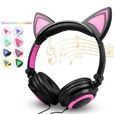 <b>Cat</b> Ear <b>Headphones</b> Gaming LED Ear <b>Headset</b> Flashing Glowing ...