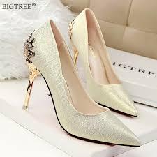 <b>BIGTREE 2019</b> Shoes Women High Heels Metal Carved Heels ...