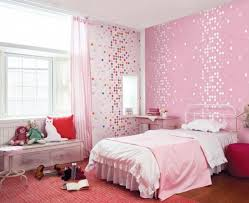 bedroom for girls: endearing kids room cute pink dotty wallpaper girls bedroom home design photo of in painting ideas
