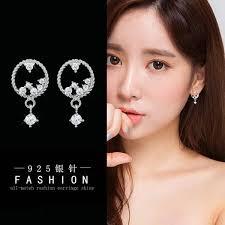 Ready Stock <b>S925 Silver Needle</b> Korean Fashion Zircon <b>Round</b> ...