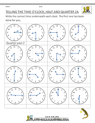 Time Worksheet O'clock, Quarter, and Half pastO'clock Half and Quarter Sheet 2A ...