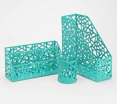 get organized in style with the geo cutout turquoise office accessories made from cutout enameled chic mint teal office