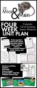 images about of mice and men lesson plans of of mice and men unit plan four full weeks of dynamic lessons ccss