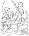 Дети на рыбалке раскраска
