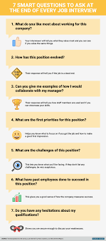 advice success career infographic priorities employee manager 7 smart questions to ask at the end of every job interview