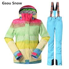 Gsou Snow ski suits female snowboard <b>winter ski jacket and pants</b> ...