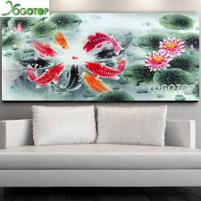 wholesale Full square <b>round diamond</b> painting koi Fish Lotus <b>5D</b> ...