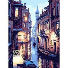 Frameless <b>Venice</b> Night <b>Landscape DIY</b> Digital Oil Painting ...