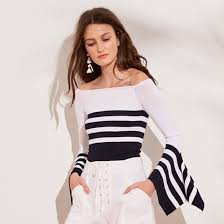Striped <b>Off The Shoulder</b> Top Draped Sleeves   <b>Autumn</b> Cashmere