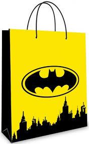 <b>Пакет подарочный</b>, Бэтмен и ночной город, Желтый, 35*25*10 ...