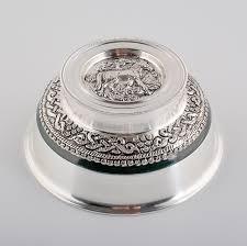 Nomad <b>Silver Bowl</b> with Horse Pattern | Mongolian Store