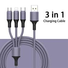 XIYU <b>3 in 1 Liquid Silicone</b> 2.4A Flash Charging Cable Phone Type ...