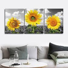 <b>Laeacco 3 Panel</b> Sunflowers Posters And Prints Canvas Painting ...