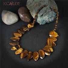 2019 <b>KCALOE</b> Tiger Eye Necklace Women Vintage Accessories Big ...