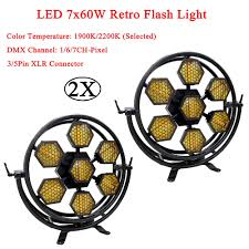 <b>2Pcs</b>/<b>Lot Stage Effect</b> Lighing LED 7x60W Retro Flash Light ...