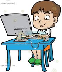 a boy typing an essay using his desktop computer cartoon clipart a boy typing an essay using his desktop computer