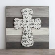 iron wall cross love: faith hope and love wall art