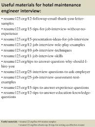 14 useful materials for hotel maintenance engineer sample hotel engineer resume