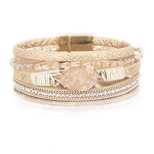 Leather Wrap Bracelet <b>Boho Cuff Bracelet Crystal</b> Bead Bracelet