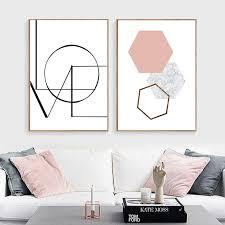 Simple <b>Love</b> Quote Geometric Pink Modern <b>Wall Art Minimalist</b> ...