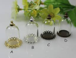 1pc 25x18mm mini glass cover glass bottle with base hollow glass hand blown necklace pendantcharming handmade blown glass bottle pendant
