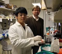 just in time therapeutics manufacturing project receives student tzu chiang han and associate professor david wood in the lab purifying recombinant biopharmaceutical proteins from a mam an cell culture