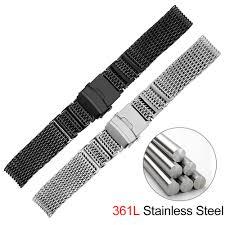 Shark Mesh <b>316L Stainless</b> Steel Watchband Strap Silver Black ...