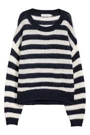 H&M loose knit wide striped navy/white slouchy jumper Small ...