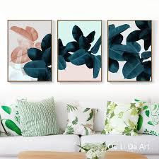 <b>no frame 3pcs</b> tropical rainforest green leaves canvas printings oil ...