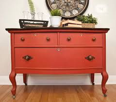 chalk painted vintage lowboy in moulin rouge red chalk painted furniture