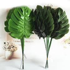 1/<b>5</b>/10pcs Plastic <b>Silk</b> Green <b>Artificial Leaves Palm</b> Fern Turtle <b>Leaf</b> ...