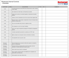 restaurant checklists the internal controls checklist