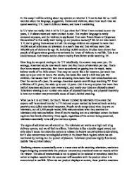 opinion essay   t v good or bad   gcse english   marked by    page  zoom in