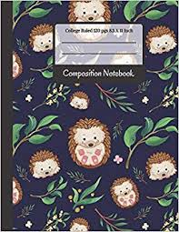 Composition Notebook: <b>Cute Little Hedgehogs</b> and Leaves College ...